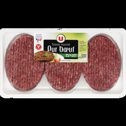 Steak haché pur boeuf, 15% MAT.GR., France, VBF 100% muscle, 3 pièces,375g