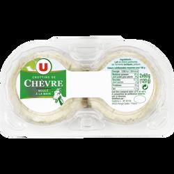 Crottins de chèvre au lait pasteurisé U, 25%mg, 2x60g