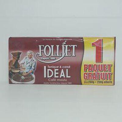 Café idéal moulu FOLLIET paquet 3x250g + 1 gratuit