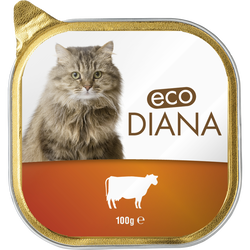 Pâté au boeuf pour chat eco diana , barquette de 100g