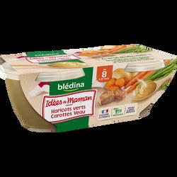 Bols pour bébé haricots verts, carottes et veau LES IDEES DE MAMAN, dès 8 mois, 2x200g