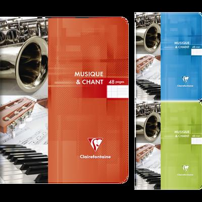 Cahier de Musique et Chant piqûre CLAIREFONTAINE, grands carreaux, 17x22cm, 48 pages, coloris assortis