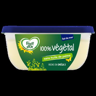 Margarine à tartiner et à cuire 100 % végétal sans huile de palme demi-sel enrichie en vitamine D FRUIT D'OR, 70% de MG, 400g