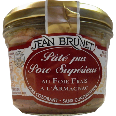 Pâté pur porc supérieur au foie frais à l'armagnac JEAN BRUNET, 180g