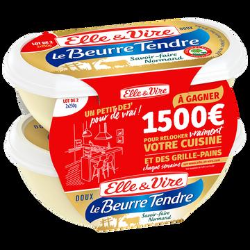 Elle & Vire Elle&vire Beurre Tendre Doux - Barquette - Lot 2x250g