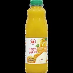 Pur jus orange et Fruits poire clémentine U, bouteille de 1l