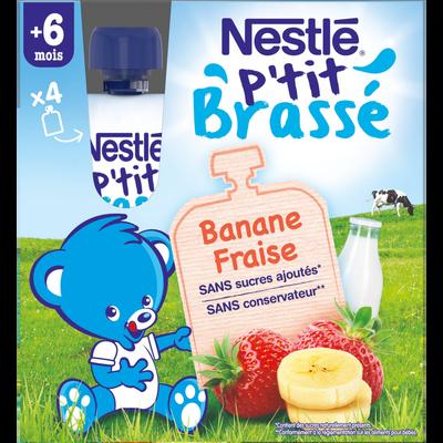 P'tit brassé gourde banane/fraise 6 mois NESTLE, 4x90g 360g