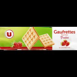 Gaufrettes fourrées saveur fraise U, paquet de 110g