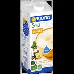 Soja à boire petit déjeuner à la vanille calcium bio BJORG, brique de1 litre