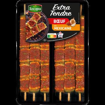 Socopa Brochette Boeuf Extra Tendre Mexicaine, Socopa, 6 Pièces, Barquette, 510g