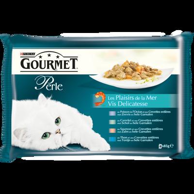 Aliment pour chat adulte Les Plaisirs de la Mer GOURMET Perle, sachetsrepas 4x85g