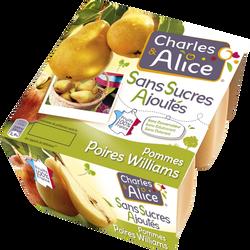 Dessert de fruits pomme poire sans sucre ajouté CHARLES & ALICE, 4x100g