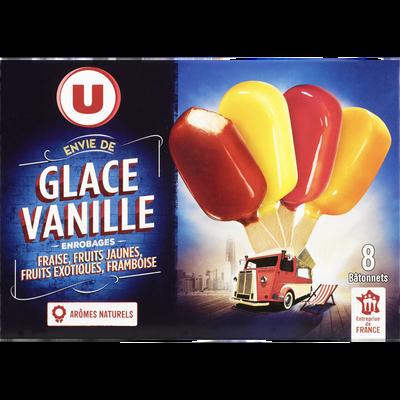 Mini bâtonnets de glace à la vanille, enrobages fraise, framboise, fruits jaunes et fruits exotiques U, 276g