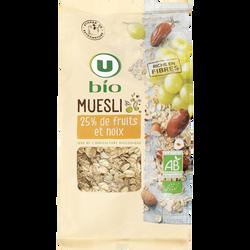 Muesli floconneux 25% de fruits et noix U BIO, paquet de 500g