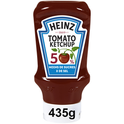 Tomato Ketchup -50% sel & sucre, HEINZ, Top Down, 435g