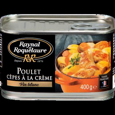 Poulet cêpes à la crème et vin blanc RAYNAL ROQUELAURE, boîte de 400g