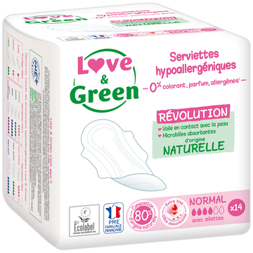 Love & Green Serviettes Hypoallergéniques 0% Anti Irritation Love&green, X14