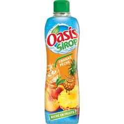 Sirop ananas pêche OASIS SIROP, bouteille de 75cl