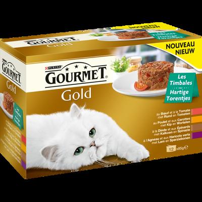 Les timbales 4 variétés pour chat GOURMET Gold, boîte de 12, 85g