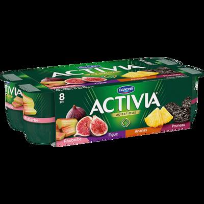 Lait fermenté au bifidus actif ananas,rhubarbe,pruneau,figue,ACTIVIA,8x125g