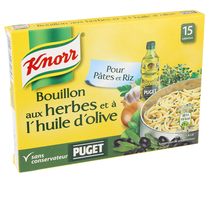 Bouillon aux herbes et à l'huile d'olive KNORR, 15 tablettes, 150g, 7,5l