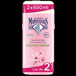 Gel douche & bain à la fleur cerisier LE PETIT MARSEILLAIS, 2 x 650ml