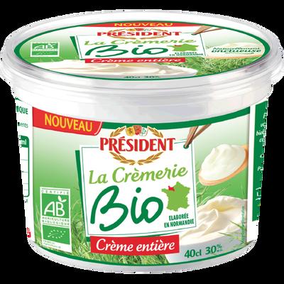 Crème fraîche épaisse biologique 30% de matière grasse PRESIDENT, 40cl