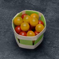 Tomate cerise, segment Les cerises rondes, jaune et rouge, BIO, catégorie 2, France, barquette, 250g