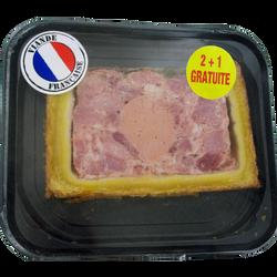 Pâté en croûte Richelieu supérieur, 2 tranches + 1 offerte, 300g