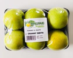 Pomme Granny Smith, LA POMMERAIE NANTAISE, calibre 136/165, catégorie 1, Treillères, barquette 6 fruits