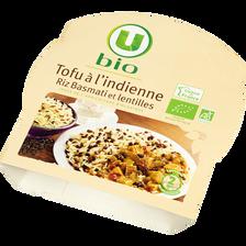 Tofu à l'indienne riz Basmati et lentilles U BIO, barquette micro-ondable de 300g