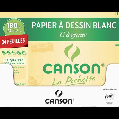 Papier dessin CANSON, 24x32cm, 180g, 24 feuilles
