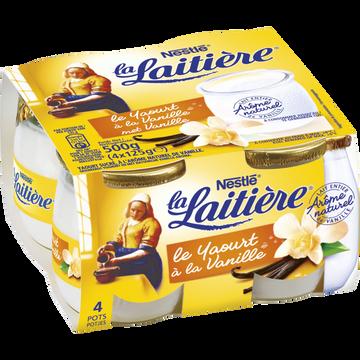 Nestlé Yaourt Au Lait Entier Saveur Vanille La Laitiere, 4 Pots En Verre De 125g
