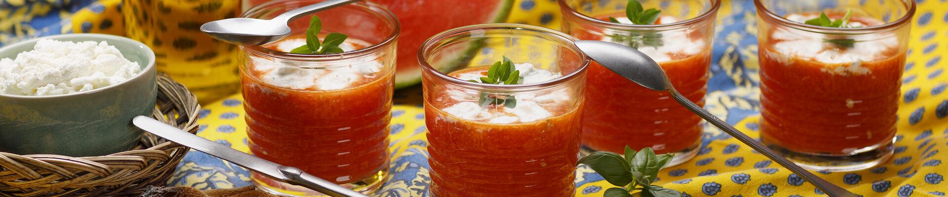 Gaspacho de pastèque à la ricotta