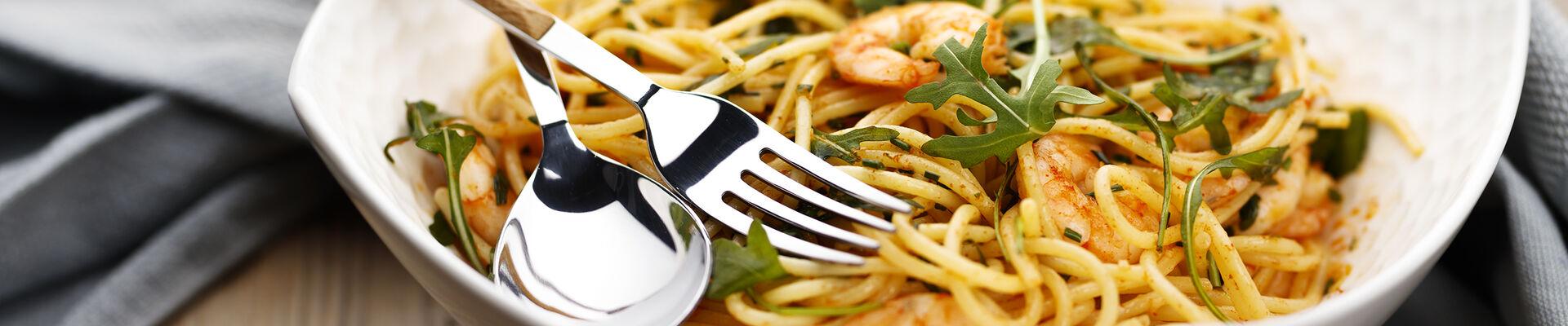 Spaghettis pimentés aux crevettes
