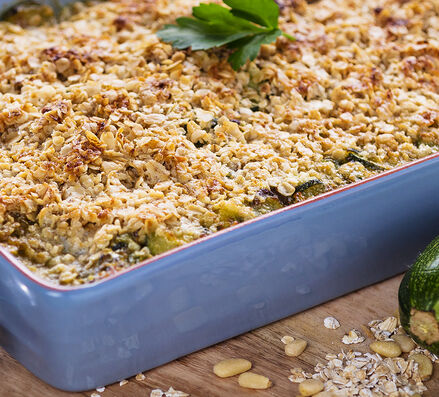 Crumble de courgettes au pesto