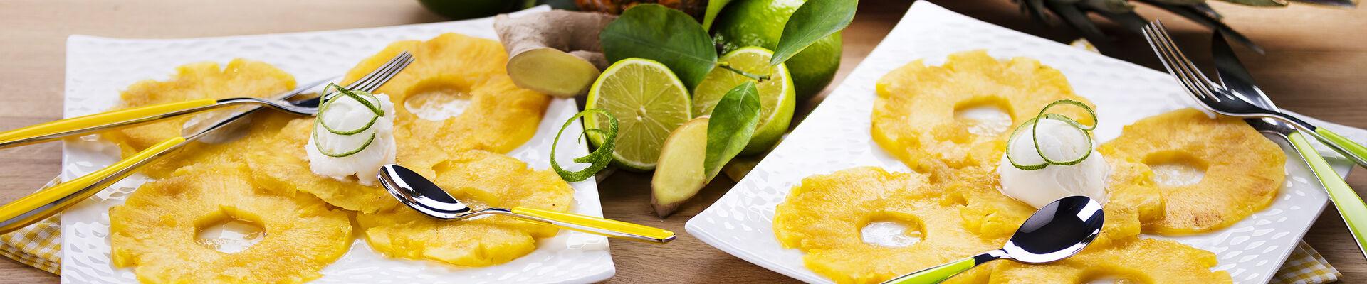 Carpaccio d'ananas vanille gingembre