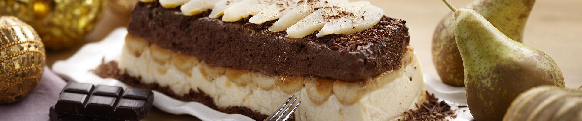 Bûche au chocolat et à la poire