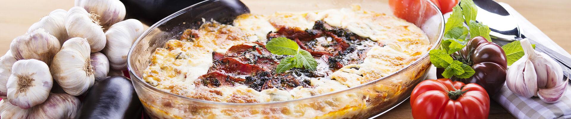 Gratin tomate aubergine à la mozzarella