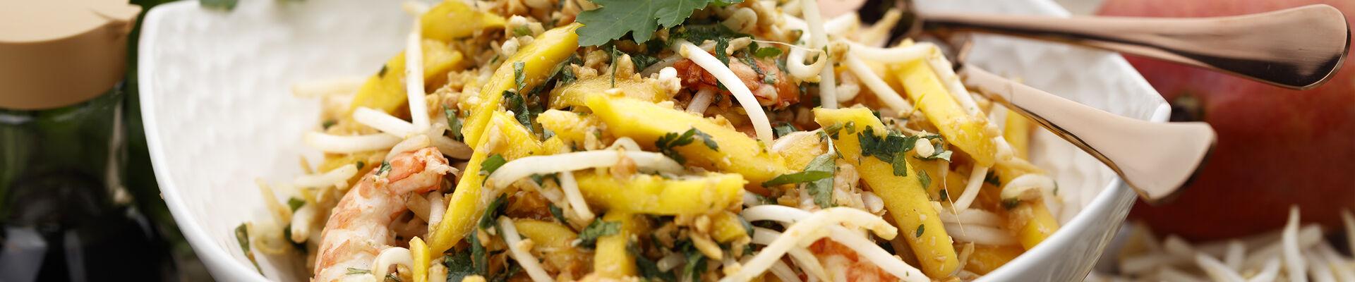 Pousses de soja crevettes mangue