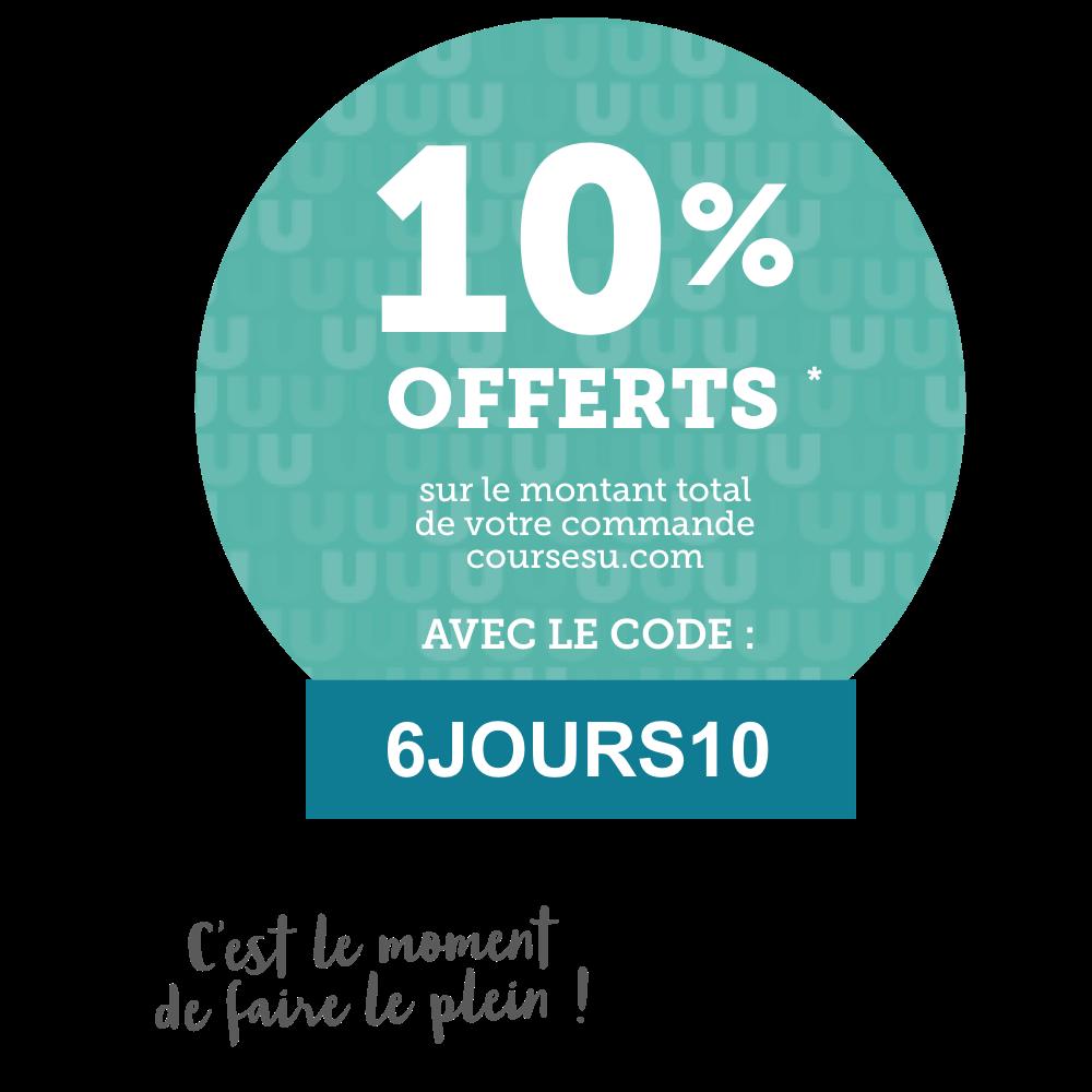 10% offerts sur le montant total de votre commande coursesu.com avec le code : 6JOURS10